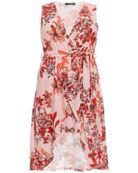 b926df07d76 Dorothy Perkins - Quiz Curve Pink And Red Floral Print Wrap Dress - Lyst