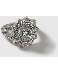 Dorothy Perkins - Silver Floral Cocktail Ring - Lyst