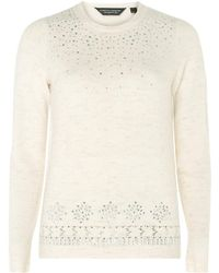 Dorothy Perkins - Cream Embellished Jumper - Lyst