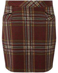 Dorothy Perkins - Burgundy Check Mini Skirt - Lyst