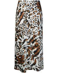 d40771d36b Dorothy Perkins - Multi Coloured Animal Print Bias Midi Skirt - Lyst