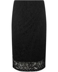 Dorothy Perkins - Black Lace Pencil Skirt - Lyst