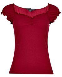 0e48ea901ae951 Dorothy Perkins - Red  milkmaid  Ruffle Top - Lyst