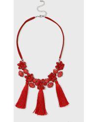 Dorothy Perkins | Red Flower Tassel Necklace | Lyst
