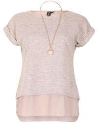 Dorothy Perkins - Izabel London Beige Short Sleeve Top With Necklace - Lyst