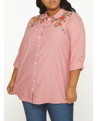 Dorothy Perkins - Dp Curve Red Striped Embroidered Shirt - Lyst