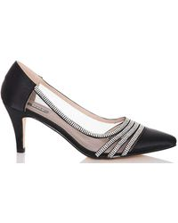 Dorothy Perkins Quiz Silver Glitter Mid Heel Court Shoes