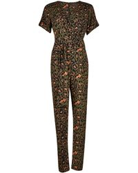 Dorothy Perkins - Khaki Animal Print O-ring Belt Jumpsuit - Lyst