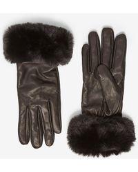 Dorothy Perkins - Black Faux Fur Trim Gloves - Lyst