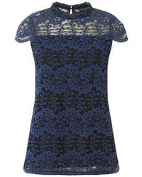 Dorothy Perkins - Blue Corded Lace T-shirt - Lyst