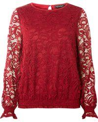 b302b090c5780f Dorothy Perkins - Berry Sheered Hem Long Sleeve Top - Lyst