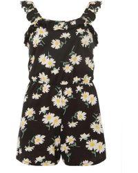 ef16b7725be0 Dorothy Perkins - Black Daisy Floral Print Ruffle Playsuit - Lyst