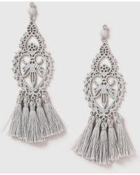 Dorothy Perkins - Grey Filigree Tassel Earrings - Lyst