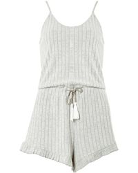 4747fdc116 Lyst - Missguided Grey Rope Striped Linen Playsuit in Gray