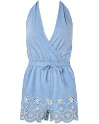 Dorothy Perkins - Dp Beach Chambray Broderie Playsuit - Lyst