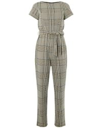 Dorothy Perkins - Grey Check Belted Jumpsuit - Lyst