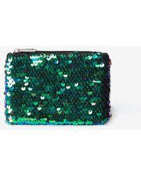 Dorothy Perkins - Green Sequin Embellished Zip Top Purse - Lyst
