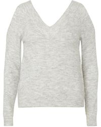 Dorothy Perkins - Grey V-neck Cold Shoulder Jumper - Lyst