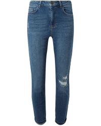 Embroidered Floral Blue Midwash Jeans Mom In Dorothy Lyst Perkins FqZ1wTIn4