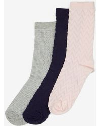 Dorothy Perkins - 3 Pack Multi Coloured Textured Socks - Lyst