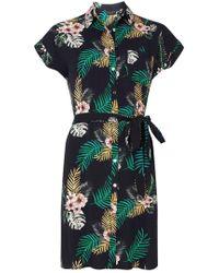 Dorothy Perkins - Navy Tropical Print Shirt Dress - Lyst