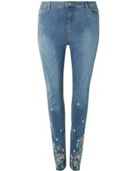 Dorothy Perkins - Dp Curve Mid Wash Embroidered Jeans - Lyst