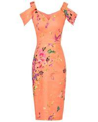 Dorothy Perkins - Jolie Moi Coral Cold Shoulder Pencil Dress - Lyst