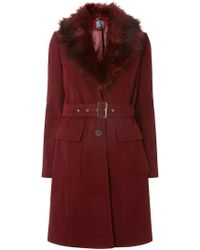 Dorothy Perkins - Tall Berry Faux Fur Belted Coat - Lyst
