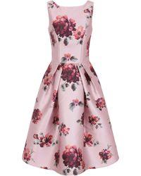 Chi Chi London - London Pink Floral Print Skater Dress - Lyst