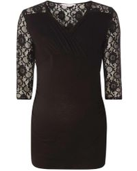 Dorothy Perkins   Maternity Black Lace Ruched Wrap Top   Lyst