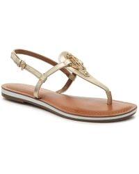 0e40e92c6 Lyst - Tommy Hilfiger Genei Slingback Thong Sandals in Metallic