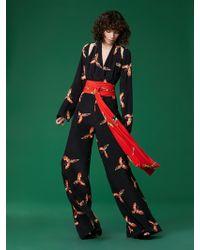 Diane von Furstenberg - Long Sleeve Wrap Jumpsuit - Lyst