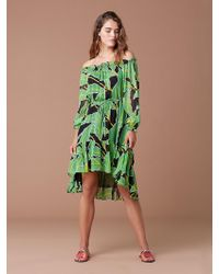 Diane von Furstenberg - Camilla Off-the-shoulder Printed Silk-chiffon Dress - Lyst