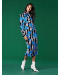 Diane von Furstenberg - Long Sleeve Collared Fitted Dress - Lyst
