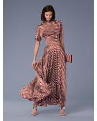Diane von Furstenberg - High-waisted Draped Satin Maxi Skirt - Lyst