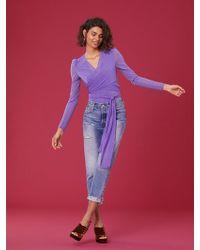 Diane von Furstenberg - Long Sleeve Wrap Bodysuit - Lyst