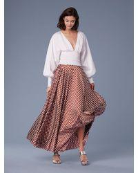 Diane von Furstenberg - Long-sleeve Smocked Cotton Blouse - Lyst
