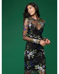 Diane von Furstenberg - Long Sleeve Crew Neck Embroidered Dress - Lyst