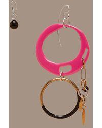 Diane von Furstenberg - Asymmetric Two Ring Charm Earrings - Lyst