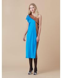 Diane von Furstenberg - One Shoulder Color Block Dress - Lyst
