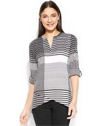Calvin Klein Roll-Tab-Sleeve Grid-Print Tunic - Lyst