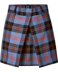 McQ by Alexander McQueen Front Pleat Plaid Skirt - Lyst