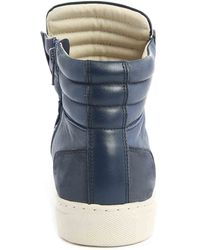 National Standard Edition 1 Zip Navy Nubuck And Leather Sneakers - Lyst