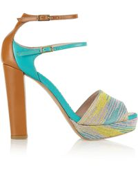 M Missoni Metallic Crochetknit and Leather Sandals - Lyst