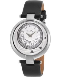Thierry Mugler Women'S Black Genuine Leather White Dial - Lyst