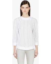 Balmain White Pencil Stripe Crewneck - Lyst