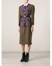 Céline Vintage Contrast Trim Skirt Suit - Lyst