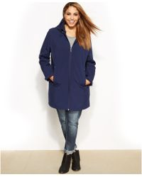 Calvin Klein Plus Size Hooded Zipfront Softshell Coat - Lyst