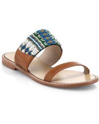 DANNIJO Nella Beaded Leather Sandals - Lyst