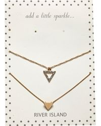 River Island Gold Tone Encrusted Triangle Necklace Pack - Lyst